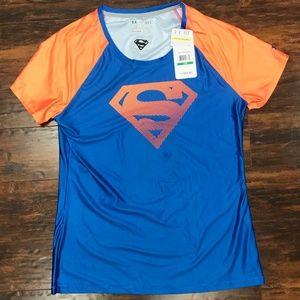 NWT Under Armour Blue and Orange Superwoman Shirt